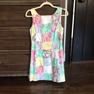 Lily Pulitzer patchwork shift dress tie sides